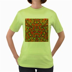 Kaleidoscope Background Mandala Women s Green T-shirt by Alisyart