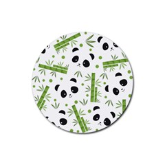 Giant Panda Bear Bamboo Icon Green Bamboo Rubber Round Coaster (4 Pack)