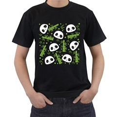 Giant Panda Bear Bamboo Icon Green Bamboo Men s T Shirt (black)