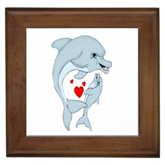 Dolphin Love Framed Ceramic Tile by retrotoomoderndesigns