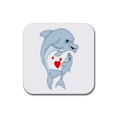Dolphin Love Drink Coasters 4 Pack (square) by retrotoomoderndesigns