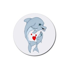 Dolphin Love Drink Coaster (round) by retrotoomoderndesigns