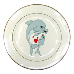 Dolphin Love Porcelain Display Plate by retrotoomoderndesigns