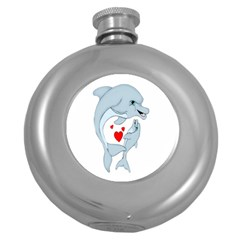 Dolphin Love Hip Flask (round) by retrotoomoderndesigns