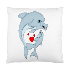 Dolphin Love Cushion Case (single Sided)  by retrotoomoderndesigns