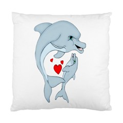 Dolphin Love Cushion Case (two Sided)  by retrotoomoderndesigns