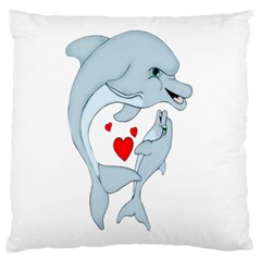 Dolphin Love Large Cushion Case (two Sided)  by retrotoomoderndesigns