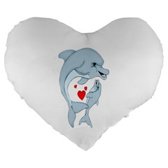 Dolphin Love Large 19  Premium Heart Shape Cushion by retrotoomoderndesigns