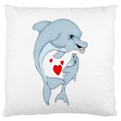 Dolphin Love Standard Flano Cushion Case (one Side) by retrotoomoderndesigns