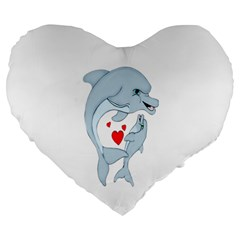 Dolphin Love Large 19  Premium Flano Heart Shape Cushion by retrotoomoderndesigns