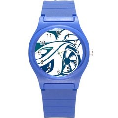 Blue Vector Car Round Plastic Sport Watch (s)