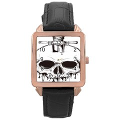 Skull Knife Euclidean Vector Skull Sword Inserted Rose Gold Leather Watch