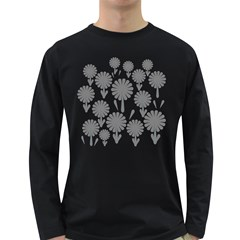 Zappwaits Flowers Black Long Sleeve Dark T Shirt by zappwaits
