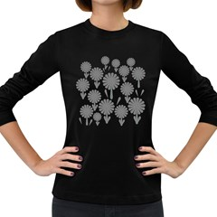 Zappwaits Flowers Black Women s Long Sleeve Dark T Shirt by zappwaits