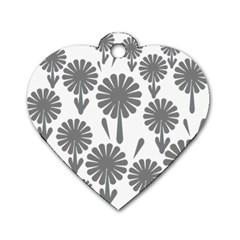 Zappwaits Flowers Black Dog Tag Heart (two Sides) by zappwaits