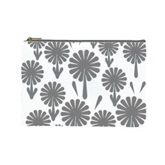 Zappwaits Flowers Black Cosmetic Bag (large)