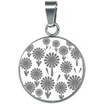 zappwaits flowers black 20mm Round Necklace Front