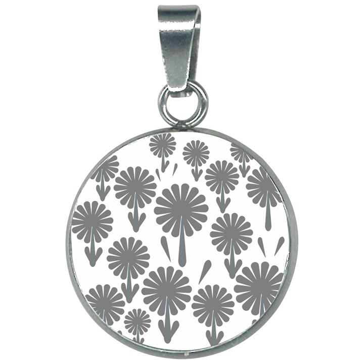 zappwaits flowers black 20mm Round Necklace