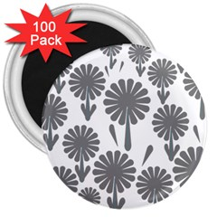 Zappwaits Flowers Black 3  Magnets (100 Pack) by zappwaits