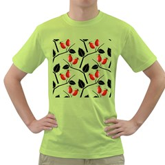 Rose Hip Pattern Branches Autumn Green T Shirt by Jojostore