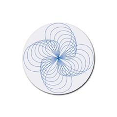 Spirograph Pattern Drawing Rubber Coaster (round)  by Alisyart