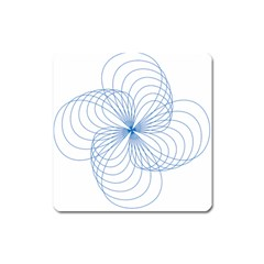 Spirograph Pattern Drawing Square Magnet