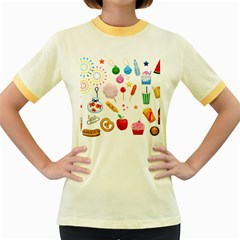 Summer Fair Food Goldfish Women s Fitted Ringer T-shirt by AnjaniArt