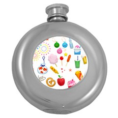 Summer Fair Food Goldfish Round Hip Flask (5 Oz) by AnjaniArt
