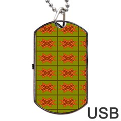 Western Pattern Backdrop Green Dog Tag Usb Flash (two Sides) by Jojostore