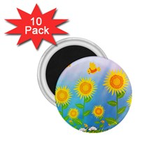 Sunflower Collage Summer Flowers 1 75  Magnets (10 Pack)