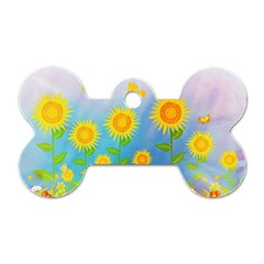 Sunflower Collage Summer Flowers Dog Tag Bone (two Sides)