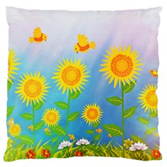 Sunflower Collage Summer Flowers Large Flano Cushion Case (two Sides)
