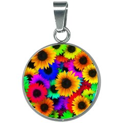 Sunflower Colorful 20mm Round Necklace