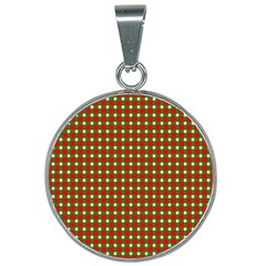 Lumberjack Plaid Buffalo Plaid Green Red 25mm Round Necklace