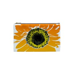 Sunflower Flower Yellow Orange Cosmetic Bag (small)