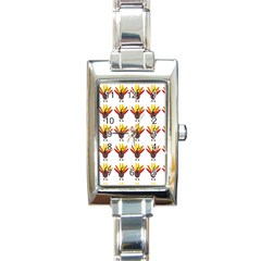 Turkey Thanksgiving Background Rectangle Italian Charm Watch by Mariart