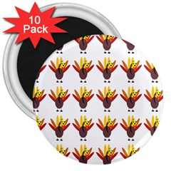 Turkey Thanksgiving Background 3  Magnets (10 Pack)