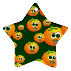 Seamless Orange Pattern Star Ornament (two Sides)