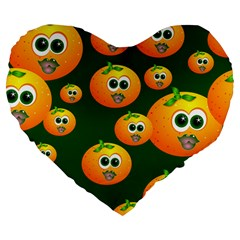 Seamless Orange Pattern Large 19  Premium Flano Heart Shape Cushions
