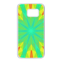 Kaleidoscope Mosaic Ornament Samsung Galaxy S7 White Seamless Case by AnjaniArt