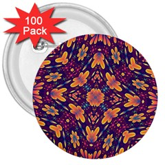 Kaleidoscope Background Design Purple 3  Buttons (100 Pack)