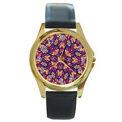 Kaleidoscope Background Design Purple Round Gold Metal Watch by AnjaniArt