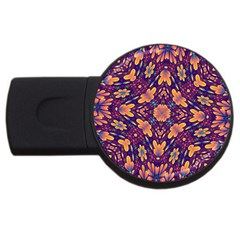 Kaleidoscope Background Design Purple Usb Flash Drive Round (4 Gb)