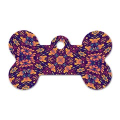 Kaleidoscope Background Design Purple Dog Tag Bone (two Sides) by AnjaniArt