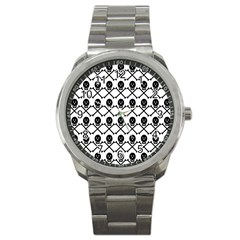 Skull Crossbones Pirate Backdrop Sport Metal Watch by Alisyart