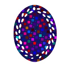 Squares Square Background Abstract Oval Filigree Ornament (two Sides)