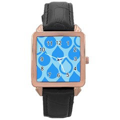 Droplet Rose Gold Leather Watch  by WensdaiAddamns