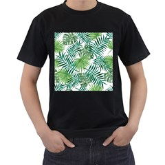 Green Tropical Leaves Men s T Shirt (black) (two Sided)