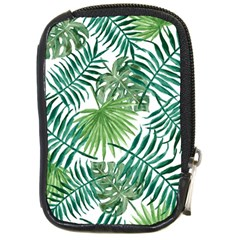 Green Tropical Leaves Compact Camera Leather Case by goljakoff