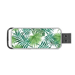 Green Tropical Leaves Portable Usb Flash (one Side) by goljakoff